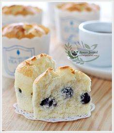 Anncoo Journal - Come for Quick and Easy Recipes: Blueberry Yoghurt Chiffon Cupcakes Muffins, Cupcake Recipes, Baking Recipes, Mini Cakes, Cupcake Cakes, Bolo Chiffon, Biscuits, Petit Cake, Blueberry Recipes