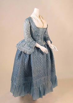 1760, France - Ensemble - Silk, linen, cotton, metal