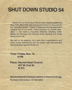 superseventies:  A letter of protest to shut down Studio 54, 1970s.