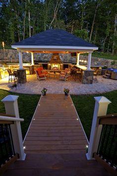 Patio and Outdoor Gazebo Design Ideas - garten - Outdoor Kitchen Ideas Patio Kitchen, Outdoor Kitchen Design, Kitchen Floor, Outdoor Gazebos, Outdoor Rooms, Outdoor Kitchens, Outdoor Cooking, Rustic Outdoor Spaces, Outdoor Kitchen Bars