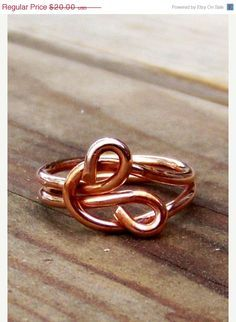 This simple little infinity love knot ring is done in bright copper wire. Suitable for men, women, unisex. Ring Size 5.5 This is a OOAK ( one of a kind ) and is ready to ship. $20.00