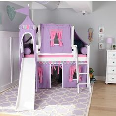 Zoomie Kids Stowers Wow Twin Loft Bed with Slide Tent and Curtains Bed Frame Color: Natural, Fabric Color: Purple Kids Bed With Slide, Bunk Bed With Slide, Bunk Beds With Stairs, Twin Bunk Beds, Kids Bunk Beds, Bunk Bed Fort, Beds For Kids Girls, Girl Room, Girls Bedroom