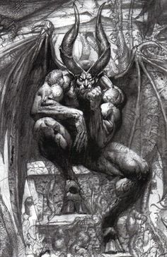 """I picture this as Seir's final form, but I don't see him as the devil, just something else, but you need to read the books to find out.   Interestingly, what you see here is more a modern interpretation of Lucifer after Christianity became the dominant religion and paganism became outlawed or deeply frowned on: """"Lucifer on the throne in Paradise Lost"""" by Simon Bisley"""