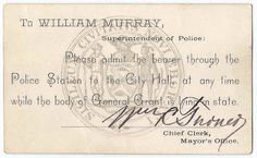 The album contains a ticket to see the lying in state of Ulysses S. Grant at City Hall.  Grant had died on July 23, 1885 at Wilton, New York.  Heirlooms Reunited: 1878-1884 Autograph Album of Frank ?, kept while he was a Student at Columbia College Law School