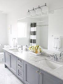 Bathroom Remodel. Vanity Cabinet painted Benjamin Moore Pigeon Gray