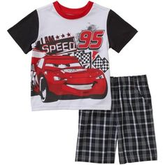 Disney Cars Lightning McQueen Toddler Boys' Tee and Shorts Outfit Set - Walmart.com