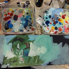 I keep my acrylic paints in containers to keep them moist. Portraits are a wonderful way to explore colour. Painting Process, Portraits, Colour, Explore, Art, Idea Paint, Color, Art Background, Head Shots