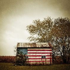 shed with red, white and blue
