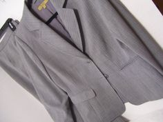 Gray Pinstriped Pant Suit  Tailored Jacket and by ARubyInTheRough