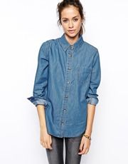ASOS Denim Shirt In Retro Wash