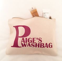 Personalised Small Washbag at #jual #personalisedgifts #bags #personalisedbags also available in black  £9.99 contact olivia@jual.co.uk for more details
