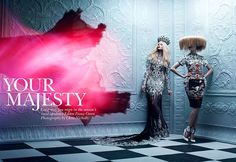 """Your Majesty""   Models: Emily Fox, Finlay Moore & Dani, Photographer: Chris Nicholls, Flare, December 2011"