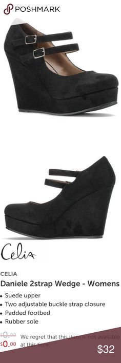 Black 2 Strap Mary Jane Wedge New without box. Fast shipping. Shoes Wedges