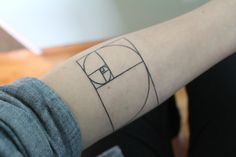 Done by Rick at Strange World Tattoo in Calgary, Alberta, Canada  This is the Fibonacci Spiral, the visual representation of the first nine numbers in the Fibonacci Sequence. The Fibonacci spiral is connected to the Golden Ratio, which is found throughout the natural world, from the double helix of our DNA to the spiral patterns seen in satellite images of hurricanes. It is also used widely in Visual Media and Graphic Design.