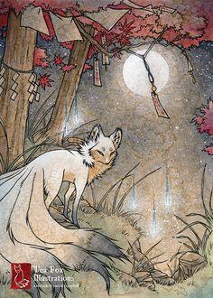 Fox & Wisps / Fox Kitsune Spirit Yokai / Japanese Style / 5x7 Fine Art Print