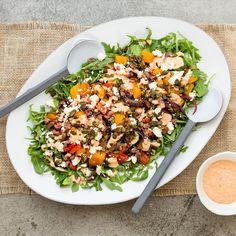 Balsamic Roasted Mediterranean Salad with Eggplant Dip Roasted Vegetable Salad, Roasted Vegetables, Veggies, Vegetarian Recipes, Healthy Recipes, Healthy Foods, Eggplant Salad, Onion Relish, Kalamata Olives