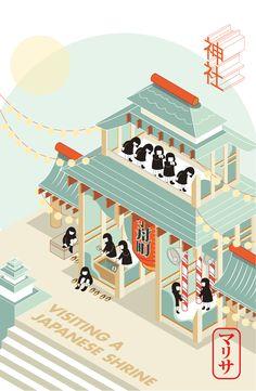 Isometric illustration japanese shrine etiquette