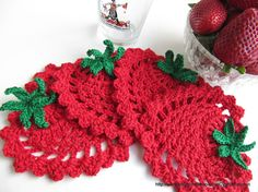 "Ravelry: ""Red Strawberry Coaster"" Simple Tutorial Crochet Pattern pattern by Lyubava Crochet. Can't believe how quickly these crochet up! Making these to go in a basket with strawberry tea and jam! LOVE this pattern! Crochet Home, Love Crochet, Beautiful Crochet, Crochet Crafts, Yarn Crafts, Crochet Projects, Knit Crochet, Crochet Kitchen, Easy Crochet"
