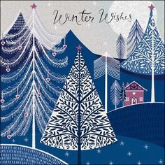 Winter Wishes gold glitter finished Christmas card