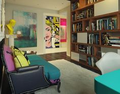 Bold Pop Art Interior Design. love the couch idea, pattern below and solids for pillows and back