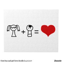Cute boy and girl love doodle jigsaw puzzle