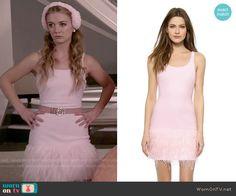 Chanel 3's pink feather trim dress on Scream Queens.  Outfit Details: https://wornontv.net/51915/ #ScreamQueens