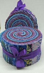 Batik Cotton Jelly Roll 40pc Purple an Blue Tones Quilting craft    eBay