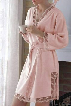 Looks so comfy for after shower Pijamas Women, Pajamas All Day, Pyjamas, Girly Girl, Nightwear, Night Gown, Lounge Wear, Feminine, Gowns