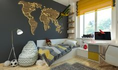 10 Accent Wall Ideas for Indian homes Kids Bedroom, Bedroom Decor, World Map Wall Decor, Accent Walls In Living Room, Teenage Room, Indian Homes, Indian Home Decor, Boy Room, Interior Design