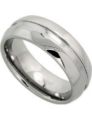 Tungsten 8 mm Dome Wedding Band Ring Etched Celtic Knot Pattern Satin Finish Mirror Finish, sizes 7 to 14