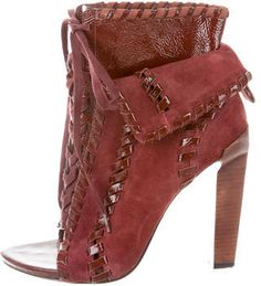 Alexander Wang Suede Peep-Toe Booties - Burgundy suede Alexander Wang peep-toe booties with tonal stitching, patent leather trim, stacked heels and lace-up closures at uppers. Includes dust bag.