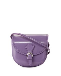 Neiman Marcus Made in Italy Buckle Leather Saddle Bag, Lilac, Women's, Lillac