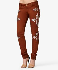 Embroidered Tribal Print Skinny Jeans | FOREVER21 - 2073359606