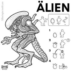 Alien creature from the Alien film series Illustrator and cartoonist Ed Harrington has created a funny collection of IKEA style assembly instructions that Horror Movie Posters, Horror Movie Characters, Horror Villains, Horror Icons, Alien Vs Predator, Predator Art, Famous Movies, Iconic Movies, Michael Myers