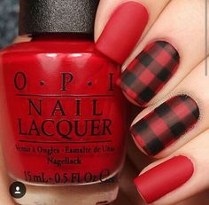 Opi red plaid nails