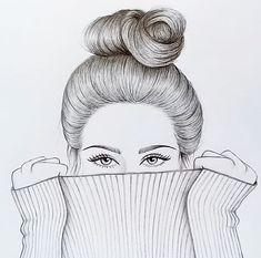 Pencil Drawing Images, Pencil Drawings Of Girls, Mini Drawings, Girly Drawings, Doodle Art Drawing, Girl Drawing Sketches, Art Drawings Sketches Simple, Realistic Drawings, Tumblr Girl Drawing