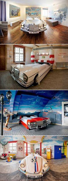 Hotel-Automotive Themed Hotel in Stuttgart -ℛℰ℘i ℕnℰD by Averson Automotive Group LLC Car Part Furniture, Automotive Furniture, Furniture Making, Automotive Group, Automotive Decor, Man Cave Bathroom, Man Cave Room, Man Cave Upcycle, Theme Hotel