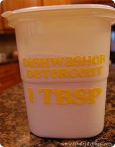 I love this Homemade Dishwasher Detergent. It saves me soooooo much money.  $.06 per load! Wahoo!   www.fabulesslyfrugal.com