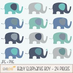 # Nursery Clip Art # DIY Invitations #baby Shower Baby Elephants Clip Art Set Boy / Elephant by igivelove on Etsy, $4.00