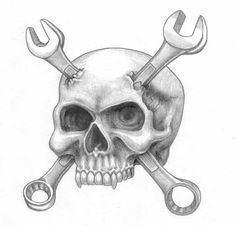 skull with wrenches Biker Tattoos, Leo Tattoos, Skull Tattoos, Body Art Tattoos, Gangster Tattoos, Tatoos, Wrench Tattoo, 1 Tattoo, Skull Tattoo Design
