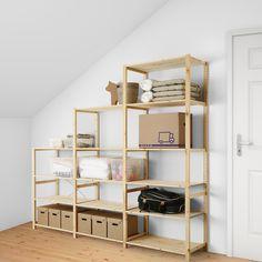 "IVAR 3 section shelving unit, pine, Width: 102"" Height: 89"". Shop today! - IKEA Pine Shelves, Ikea Usa, Recycling Facility, Storage Shelves, Storage Ideas, Shelving Systems, Ikea Ivar Shelves, Retail Shelving, Basement Storage"