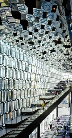 Harpa Concert Hall in Reykjavík, Iceland.  Includes several beautiful restaurants, one of them on the top floor surrounded by breath-taking views.