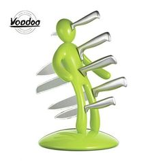 Voodoo 915004 Voodoo II Knife Block Novelty Kitchen Accessory With Knives  Green