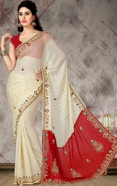 Divine Cream and Red Saree for Wedding