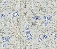 Botanica Wilde (hemp) fabric by nouveau_bohemian on Spoonflower - custom fabric