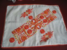 Gorgeous vintage embroidered pillowcase, in unusual colors