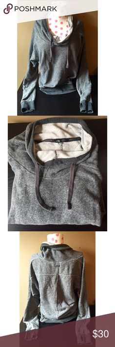North Face Mock Neck Hoodie, size XS North Face Mock Neck Hoodie, size XS. So comfy and so perfect for a workout or with jeans. Has thumb holes on the sleeves. North Face Tops Sweatshirts & Hoodies
