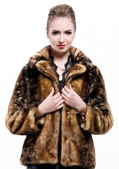 French manor retro Fashion/coffee leopard grain with faux mink fur collar /short coat  messcabuy.com
