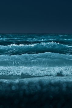 Night Waves the blue sea, nature photography blvkkiss Sea And Ocean, Ocean Beach, Ocean Waves, Ocean Deep, Big Waves, Ocean Girl, Black Ocean, Beach Bath, Beach Waves