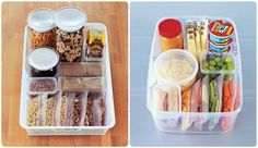 Healthy Snack Boxes For Both Pantry and Fridge... includes recipes/suggestions for each! Great healthy snack ideas for kids...
